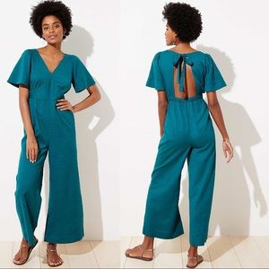 LOFT Beach Flare Sleeve Tie Back Teal Jumpsuit
